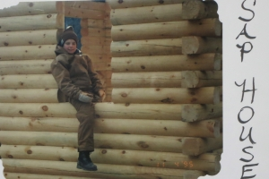 Blain building the cabin